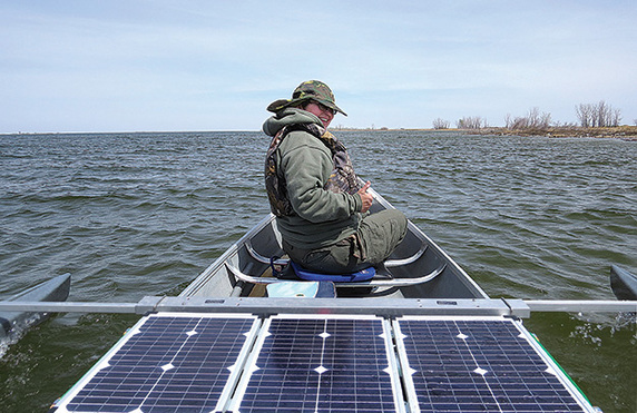 solar powered canoe batteries stay fully charged